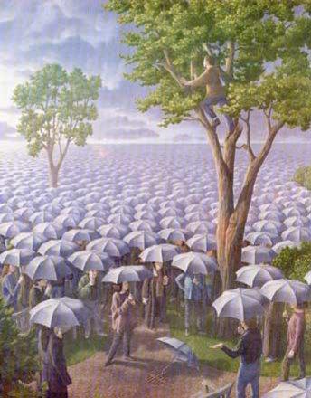 Un mar de paraguas...