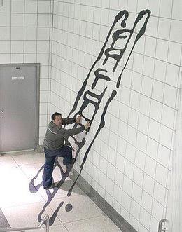 Una escalera en el metro